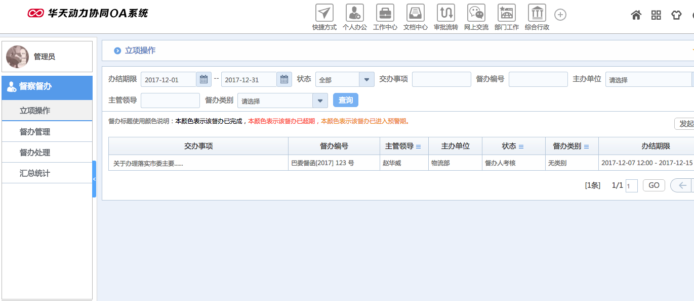 华天动力OA试用版功能测评(十六):督察督办