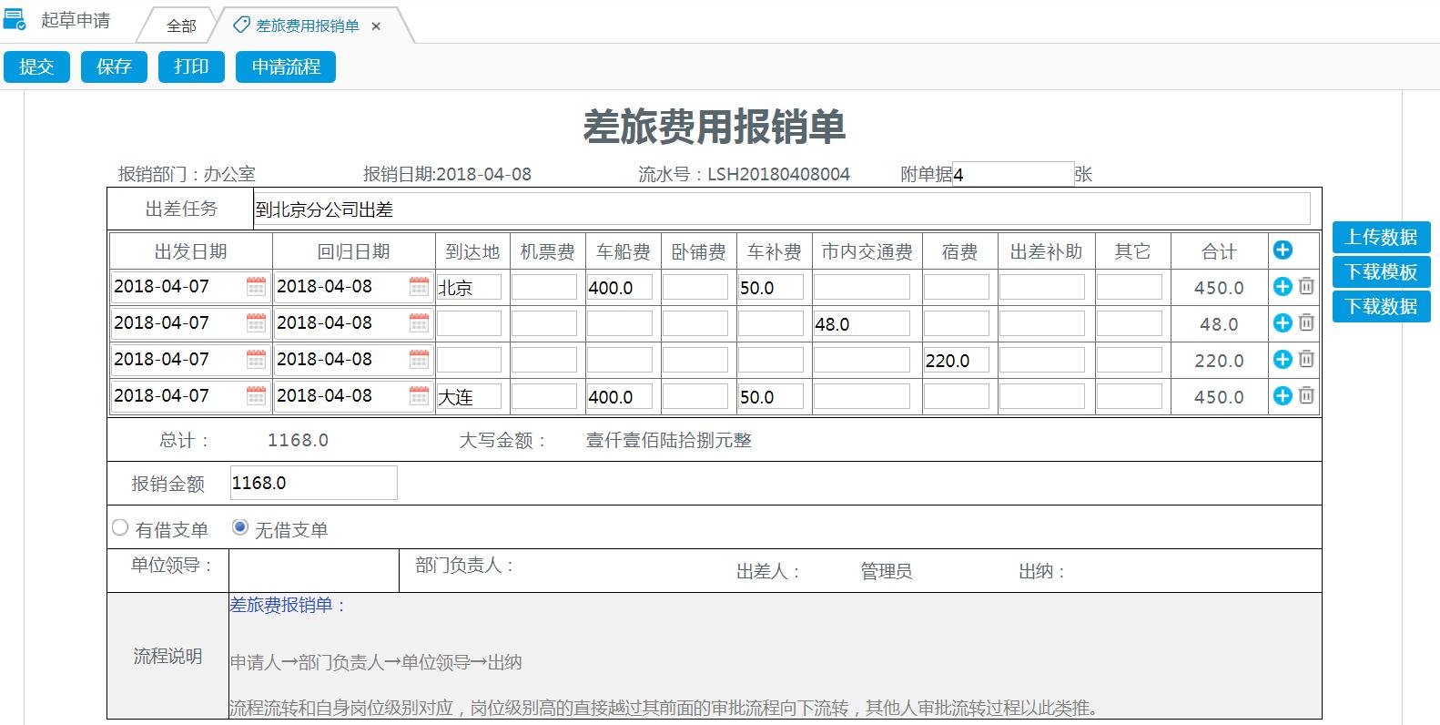 华天动力协同OA系统:百变工作流之报销审批